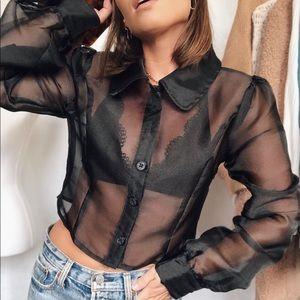 Bette Sheer Organza Puff Sleeve Top - Black